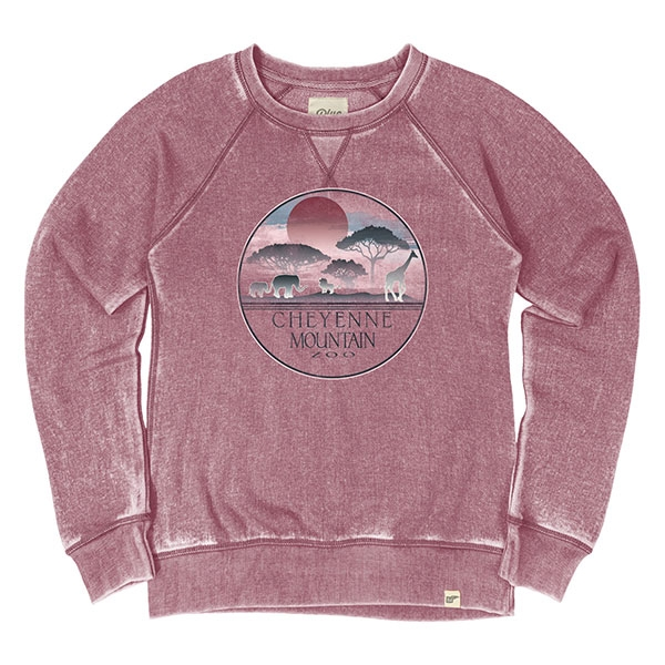 LADIES CREW SWEATSHIRT HALYCON SERENGETI-CRANBERRY