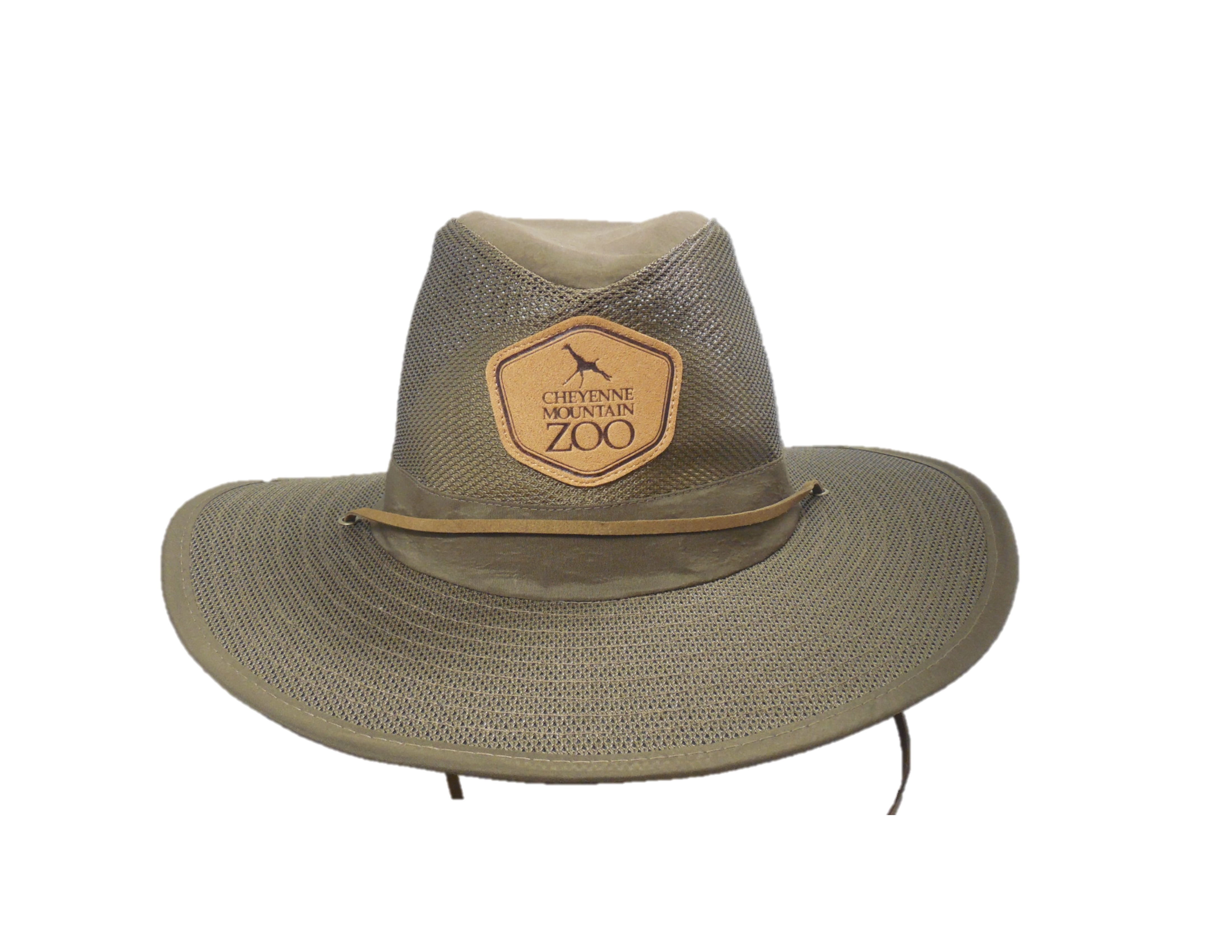 ADULT MESH AUSSIE WITH CHEYENNE MOUNTAIN ZOO LOGO PATCH-BROWN